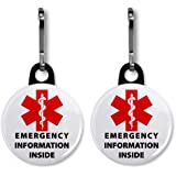 MEDICAL INFORMATION INSIDE Red Alert Symbol 2-Pack 1 inch Black Zipper Pull Charms