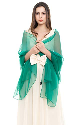 Chiffon Satin Wrap - REEMONDE Womens Luxurious Soft Satin Chiffon Bridal Scarf Shawl Wraps Pashmina for Evening Party (Dark Green Chiffon)