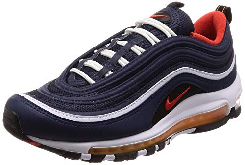 Nike Men's Air Max 97, Midnight Navy/Habanero RED, 9 M US