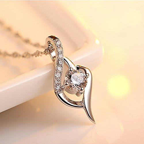 Joyfulshine Silver Plated Zirconia Pendant Necklace Love Heart for Women