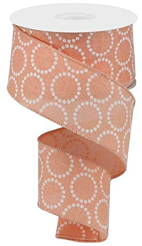 Pearl Beads Circles Canvas Wired Edge Ribbon - 10 Yards (Light Coral, 2.5