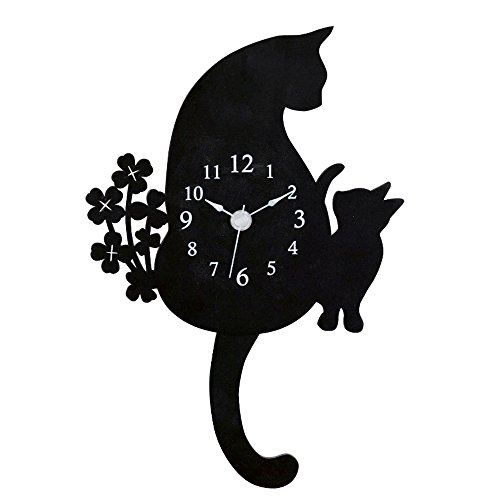 - Ohnishi Ken Manufacturing Abeille Cat Wall Clock Pendulum clock Black G-1143BK