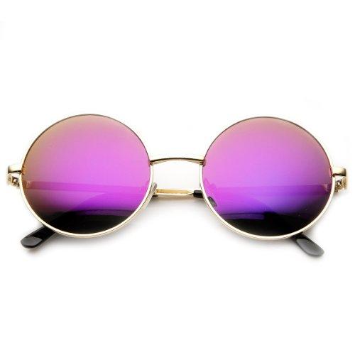 zeroUV - Mid Sized Metal Lennon Style Flash Mirror Round Sunglasses (Gold Purple)