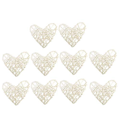 Fityle 10 Piece Rustic Loving Heart Rattan Wicker Vine Ball for Wedding Party Home Decoration Christmas Xmas Thanksgiving Day Ornaments DIY Craft - 6cm