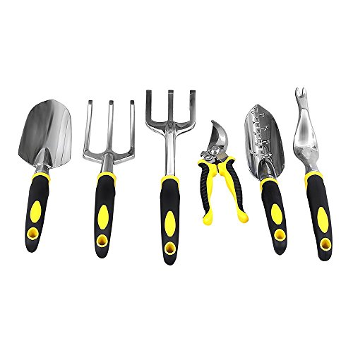 SONGMICS Garden Tool Set 6-Piece Garden Kit with Heavy Duty Cast-Aluminum Heads & Ergonomic Handles UGGT600