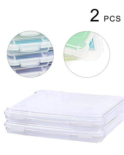SBYURE Transparent Plastic Box,Portable A4 File Box,Organizers Box Case for Document Paper Protector and Storage Collections Container Magazine