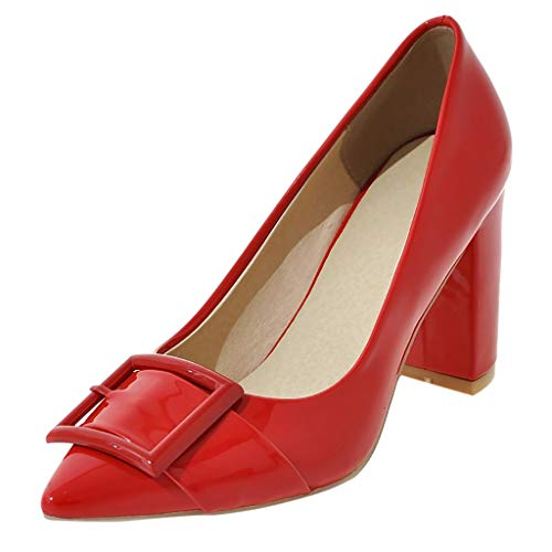 Cenglings Women's Sexy Pointed Toe Bowknot Solid High Chunky Heel Pumps Patent Shoes Slip On Shallow Sandals Office Shoes Red