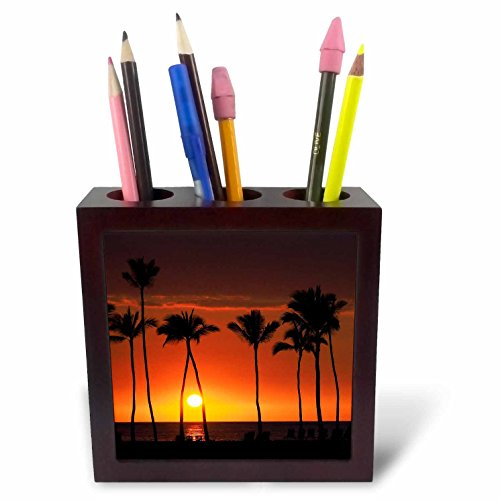 3dRose Danita Delimont - Sunsets - Usa, Hawaii, Big Island. Orange sunset on Anaehoomalu Bay. - 5 inch tile pen holder (ph_278931_1) by 3dRose