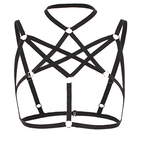 Other-sey Women Underwear Explosion Summer Alluring Bra Shirt, Women Cage Bra with Choker Elastic Strappy Hollow Out Bralette Bustier Tops Black]()