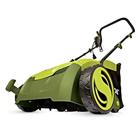 "Sun Joe AJ801E 13 in. 12 Amp Electric Scarifier + Lawn Dethatcher w/Collection Bag, Green 125 POWERFUL: 12-amp motor rakes a 13"" wide path to get your job done faster ADJUSTABLE DECK : Tailor raking depth with 5-position depth control SCARIFIER : Use the scarified function to cut grass roots for thicker growth, healthier lawns"