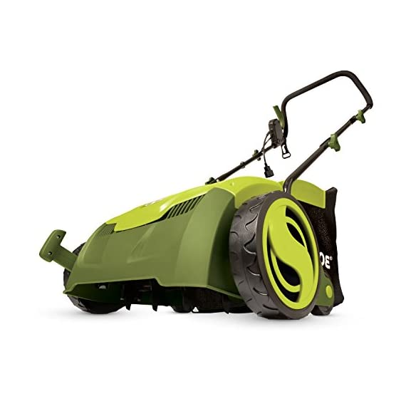 "Sun Joe AJ801E 13 in. 12 Amp Electric Scarifier + Lawn Dethatcher w/Collection Bag, Green 1 <p>LET YOUR LAWN BREATHE. Get your lawn in top green shape with the Sun Joe Dethatcher Joe AJ801E 12.6-inch electric scarifier + lawn dethatcher. Powered by a robust 12-amp motor, the Dethatcher Joe rakes a 12.6-inch wide path in a single pass to get your job done fast. Enhancing its raking ability is Airboost technology, which maximizes thatch pickup with spring steel tines that stay sharp longer for reliable performance. Use the 5-position depth control knob to tailor the raking depth from -0.4 in. (10 mm below the soil) to 0.4 in. (10 mm above the soil), depending on your lawn's scarifying or dethatching needs. Scarifying your lawn at regular intervals cuts grass roots and encourages growth for thicker, healthier turf. Thatch is a dense mat of roots, stems and grass clippings that accumulates on lawns over time, blocking the flow of water, oxygen and vital nutrients. It is important to periodically remove thatch in order to keep your lawn green and healthy. While ordinary manual rakes are tiresome to use and not very effective, the electric Dethatcher Joe starts instantly with the push of a button and easily gets the job done without polluting the atmosphere with toxic carbon emissions. No gas, oil or tune-ups make the Sun Joe Dethatcher Joe your green choice for greening your lawn. ETL-approved. 2-year warranty. Powerful: 12-amp motor rakes a 13"" wide path to get your job done faster Adjustable deck: tailor raking depth with 5-position depth control Scarified: use the Scarified function to cut grass roots for thicker growth, healthier lawns Air boost technology: spring Steel tines for maximum thatch pickup Accessories: detachable thatch collection bag for easy disposal We've got you covered! : your new Dethatched is backed by the snow Joe + Sun Joe customer promise. We will warrant New, powered products for two years from the date of purchase. No questions asked. Contact snow Joe + Sun Joe customer Support at 1-866-766-9563 for further assistance.</p>"