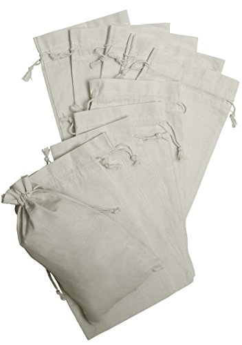 100 Percent Cotton Muslin Drawstring Bags 12-Pack For Storage Pantry Gifts (7 x 12, White)