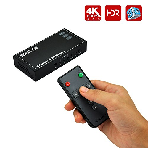SMARTOOO 23031 4K@60Hz HDMI 2.0 HDMI Switcher 3x1| HDR 3 Ports HDMI Switch 3x1(3 inputs and 1 output) 4:4:4 with remote control and auto switch