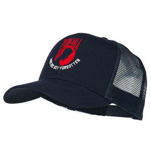 Pow Mia Symbol Embroidered Twill Mesh Cap - Navy (Mia Mesh Cap)