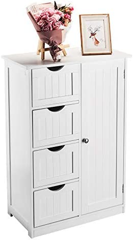 Mokylor Free Standing Storage Cabinet Bathroom Cabinet With Single Door And 4 Drawers 21 7x11 8x31 9 Inch White Kitchen Dining Amazon Com