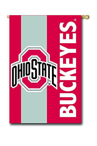 Team Sports America Ohio State University Outdoor Safe Double-Sided Embroidered Logo Applique House Flag, 29 x 44 inches