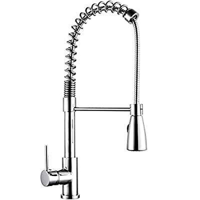 Sunba Youth Kitchen Faucet, Single Handle Kitchen Sink Faucet with Pull Down Sprayer, Stainless Steel Spring Brushed Pull Out Kitchen Sink Sweep Spray Faucet