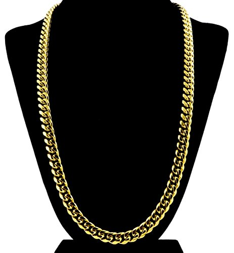 Gold Cuban Link Chain Necklace For Men Real Solid 18k Plated + Luxury Gift Case