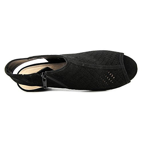 International Toe Open Womens INC Ranae Pumps Wedge Black Slingback Leather Concepts wqYHHdB