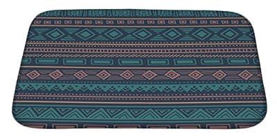Gear New Bath Rug Mat No Slip Microfiber Memory Foam, Blue Ethnic Pattern Tribal Ornament Striped Geometric Back