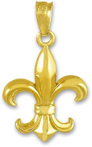 14KT Weiss Gold Glänzend Ausschnitt Fleur De Lis Anhänger Charm Halskette Neu