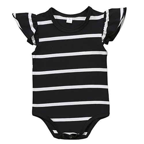 Baby Girls Sleeveless Black White Striped Fly Sleeve Ruffle Bodysuit Jumpsuit (3-6M, Black) (Onesie Striped Bodysuit)