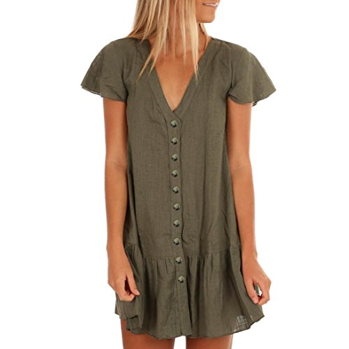 Lady Mini Button - iQKA Women's Casual V-Neck Short Flare Sleeve Button Loose Flowy Sundress Mini Dress(Green,Large