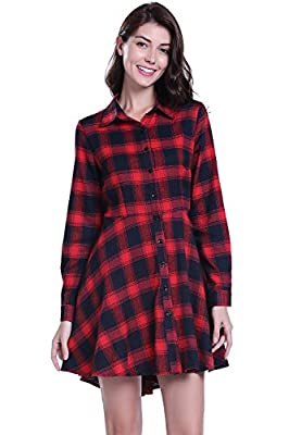 MISS MOLY Women's Red Plaid Flannel Dress Casual Turn Down Collar Long Sleeves Double Breasted Shirt Dress