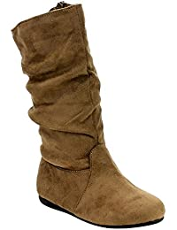Girl's Mid-Calf Solid Color Flat Heel Slouch Boots