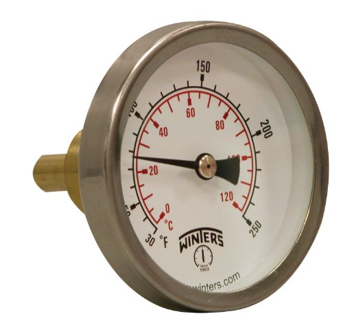 Winters TSW Series Aluminum Dual Scale Hot Water Thermometer, Dial Type, 2-1 2 Dial, 3 4 Sweatwell, 30-250 F C Range