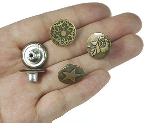 ALL in ONE 50 Sets Mixed Vintage Brass Jeans Button Replacement Suspender Button (17mm Mixed)