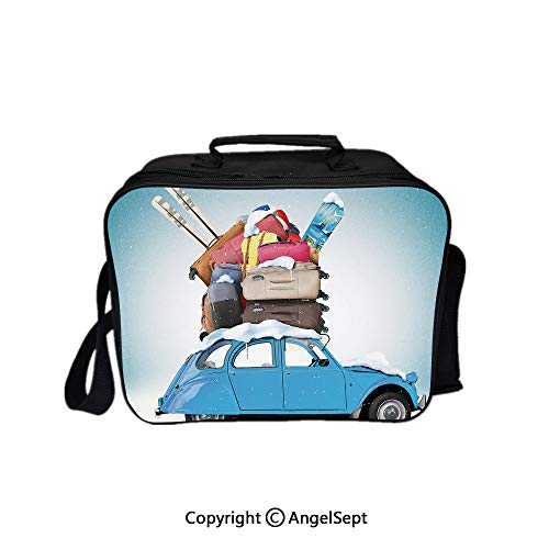 (Lunch Box Carry Case Handbags,Traveling Themed Snowy Image Ski Baggage Items Blue Vintage Car Holiday Photograph Decorative 8.3inch,With Zipper For Adults Kids Teachers Workers)