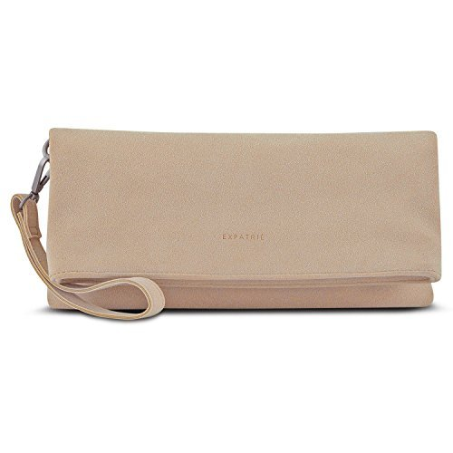 "Clutch Bag Nude - Expatrié ""Marie"" Faux Leather Womens Handbag - PU Leather Versatile Foldover Clutch Purse Messenger Shoulder Bag for Women - Elegant Clutch and Shoulder Bag in One by Expatrié"