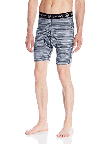 Canari Cycling Gel Liner Short - Canari Men's Crazy Echelon Liner Shorts, Grey Heather, Large