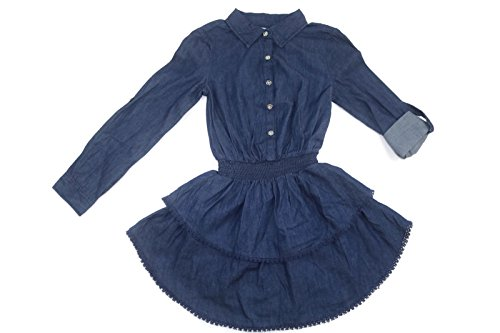 Fit And Flare Denim Skirt (Ella Moss Girls' Long-Sleeve Ruffled Denim Blue Jean Dress (10, Rinse))