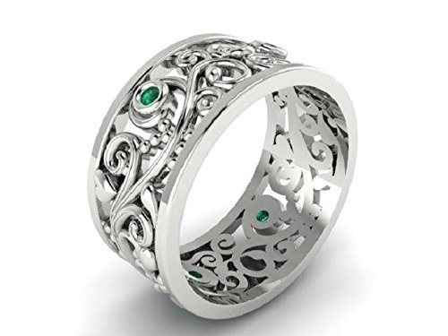 Natural Emeralds Wedding Ring Bands, Leaf and vine Emerald ring, 14k White gold custom made Engagement Rings