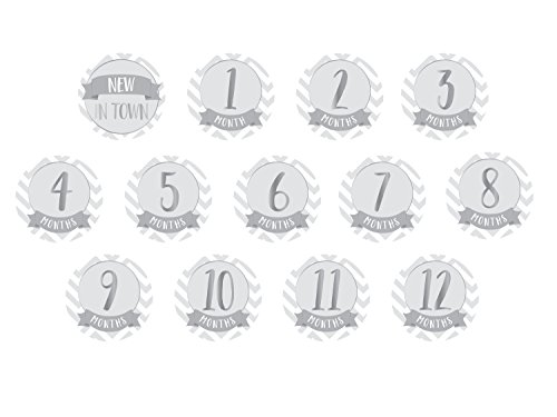 Pearhead Chevron First Year Belly Stickers, Gray - Paper Hamper Set
