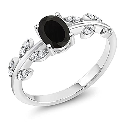 1.01 Ct Oval Black Onyx Gemstone 925 Sterling Silver Olive Women's Vine Ring (1.01 Ct Oval Black Onyx 925 Sterling Silver (Oval Cut Black Onyx Ring)