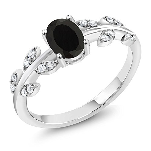 Vines Ladies Ring (1.01 Ct Oval Black Onyx Gemstone 925 Sterling Silver Olive Women's Vine Ring (Ring Size 9))