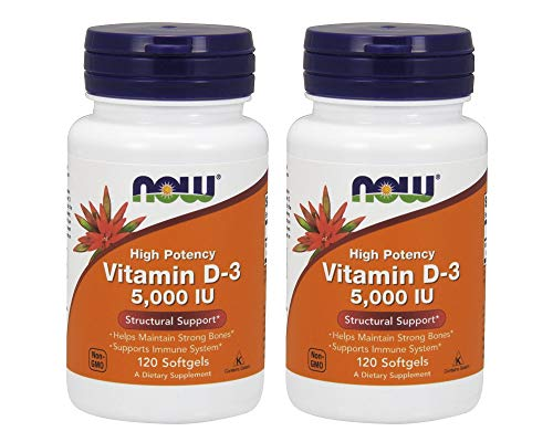 NOW Foods Vitamin D3 5000 Iu (120Softgels) - FamilyPack 2Pack
