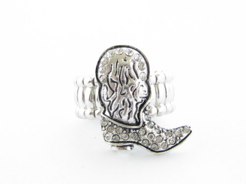 Boot Clear Crystals Cowgirl Silver Plated Fashion Stretch Ring