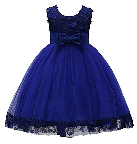 Christmas Dress Special Occasion Tops for Girls Size 1-2 12-18 Months Little Girl Dress for Party Dance Sleeveless Dark Blue Knee Length Christmas Halloween Wedding Graduation Ball Gown (Navy 90) -