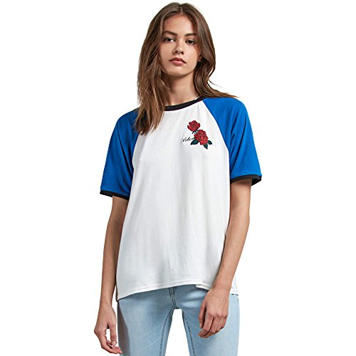 Volcom Junior's Stage 4 Ringer Colorblocked Tee, White, Extra Small