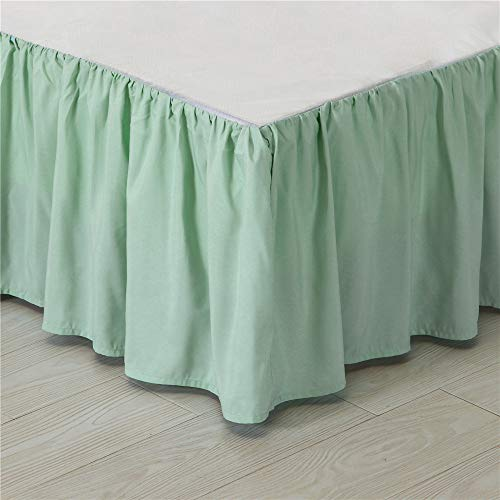 Kokolife Ruffled Solid Bed Skirts Wrap Around with Platform Gathered Style 3 Sides Coverage(Mint Green, Full)