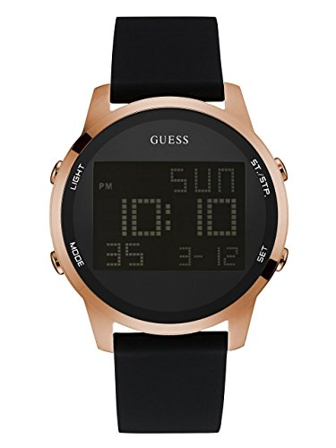GUESS  Comfortable Rose Gold-Tone Black Stain Resistant Silicone Digital Watch with Day, Date, 24 Hour Military/Int'l Time, Dual Time Zone + Alarm. Color: Black (Model: U0787G2)