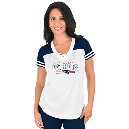 NFL New England Patriots Adult Women NFL Plus S/Lace Up V Neck Tee,1X,WHT/NVY