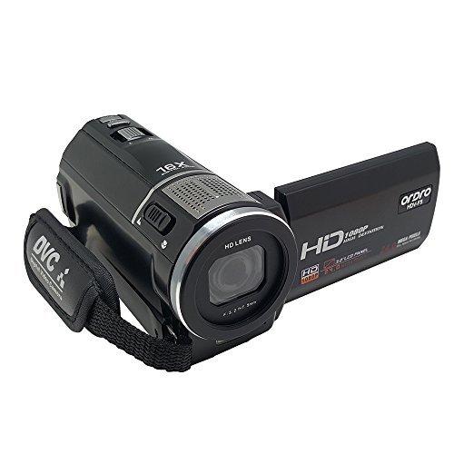 Video Camcorder, ORDRO HDV-F5 HD 1080P 16x Zoom Digital Camera with Macro Mode Max 24 Megapixels CMOS Sensor External Battery