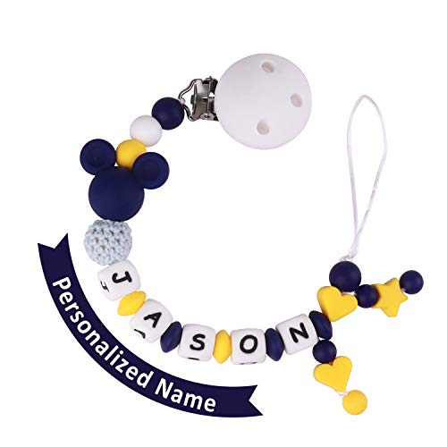 Pacifier Clip Personalized Name, MCGMITT Customized Binky Holder Teething Silicone Beads Toys for Baby Girls Boys Toddler (Dark Blue)