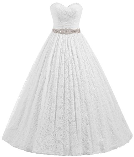Beautyprom Women's Sweetheart Ball Gown Lace Bridal Wedding Dresses (US10, White)