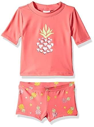 KIKO & MAX Baby Girls Suit Set with Short Sleeve Rashguard Swim Shirt, Coral Pineapple Print, 12 Months